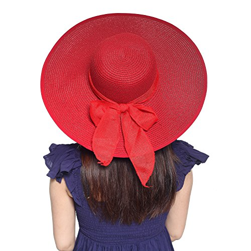 - Kaisifei Bowknot Casual Straw Women Summer Hats Big Wide Brim Beach Hat (Red Wine)