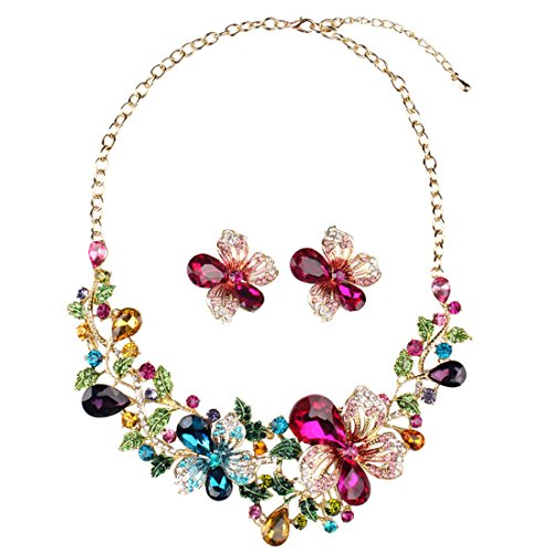 - Hamer Women's Multi-color Big Crystal Flowers Statement Choker Necklace and Earrings Sets for Women