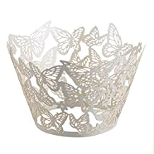 50pcs White Butterfly Muffin Cup Cake Wrapper Tray Wedding Baby Shower Liner