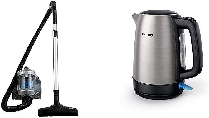 meilleur authentique vente chaude réel le meilleur AmazonBasics Aspirateur cylindrique sans sac, 1,5L, 700 W [classe  énergétique A] & Philips HD9350 / 90 bouilloire (2200 watts, 1,7 litres, en  acier ...