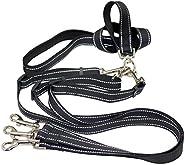 Coleira resistente para cães 3 vias, refletiva tripla para caminhar, guia com alça forte