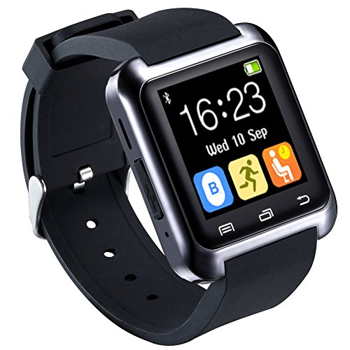 HopCentury Bluetooth Smart Watch for Android Cellphones with Drink/Rest Reminder Pedometer Calls Notifier Sleep Monitor Stopwatch, Support iPhone with Partial Functions Black by HopCentury