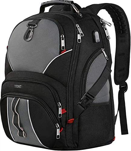 Extra Large Backpack, Travel Laptop Backpacks for College School Men Women with USB Charging Port, 50L TSA Approved Water Resistant Anti Theft Durable Business BookBag, Fits 17 Inch Laptops, Black