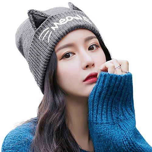 370c90be4f8 Cat Ears Beanie Pussy Cat Hat Fleece Beanie Warm Winter Hats for ...