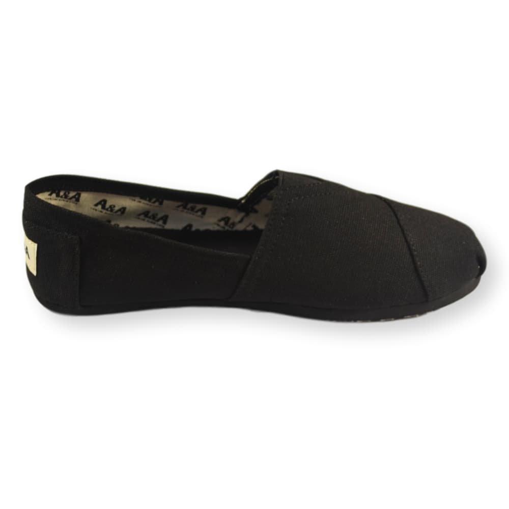 A&A Vegan Classic Slip-on Canvas Alpargatas, Casual Shoes for Women & Men (Unisex) (6 US Women / 4.5 US Men, Black on Black) by A&A (Image #4)