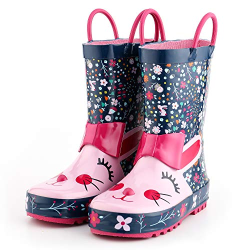 KomForme 3D Animal Kids Girl Rain Boots Purple Cat, 1 M US Big Kid