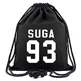 BTS Bangtan Boys Drawstring Canvas Bags V Suga J-hope Backpack Shoulder Bag (SUGA)
