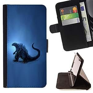 BullDog Case - FOR/LG G2 D800 / - / dinosaur blue art painting reptile history /- Monedero de cuero de la PU Llevar cubierta de la caja con el ID Credit Card Slots Flip funda de cuer