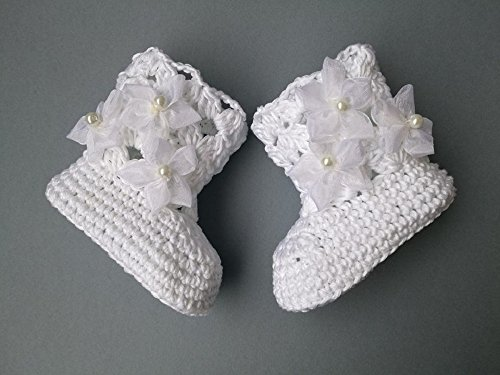Crochet Pattern baby christening booties, baptism shoes