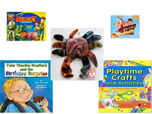 Children's Gift Bundle - Ages 3-5 [5 Piece] - Toy Story Memory Game - Jake and The Never Land Pirates 24 Piece Puzzle Toy - Ty Teenie Beanie Baby - Claude The Crab - Tyler Timothy Bradford and The B - Tyler Beanie