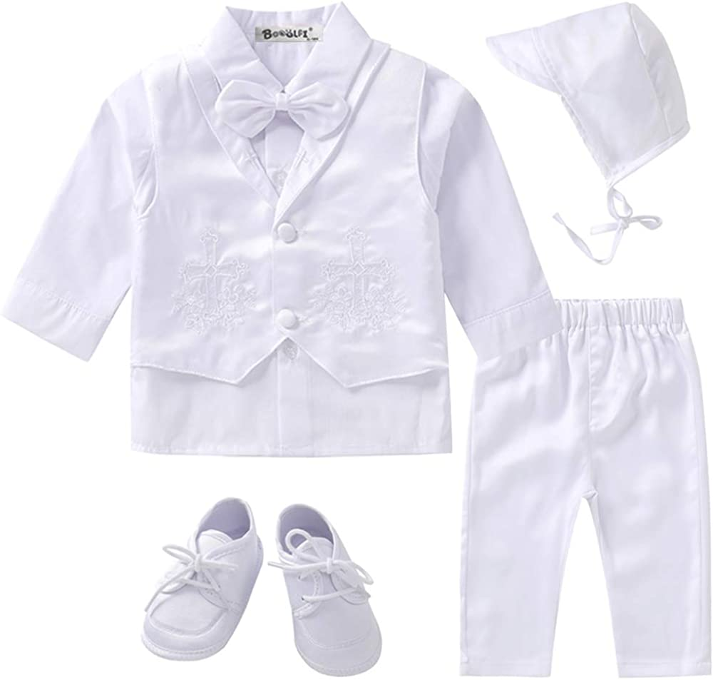 Booulfi Baby Boy's 5 Pcs Set Christening Baptism Outfits Long Sleeve Suit