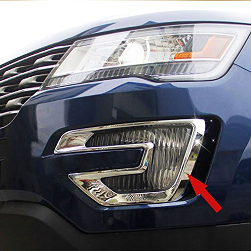 - Generic ABS Chrome Car Front Fog Light Lamp Cover Trim Trims Fit For Ford Explorer 2015 2016 2017