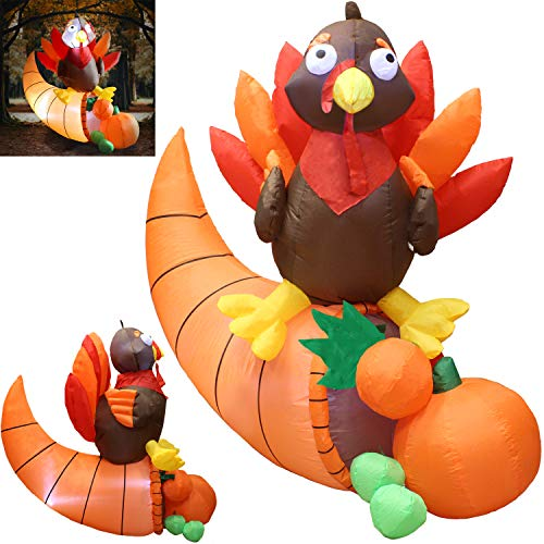Joiedomi 5 Foot Thanksgiving Inflatable Turkey on Cornucopia; LED Light Up Blow Up Turkey for Autumn Thanksgiving Decorations and Fall Family Party Favor Supply Décor.]()