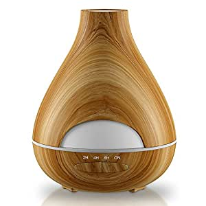 Aroma Essential Oil Diffuser New Model No Condensation with Waterless Auto Shut-off – Aromatherapy Ultrasonic Wood Grain Burner 530 Ml – 16 h – Air Humidifier for Home, Office, Spa