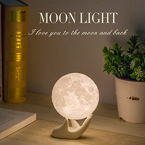 Mydethun Moon Lamp Moon Light Night Light for Kids Gift for Women USB Charging and Touch Control Brightness Two Tone Warm and Cool White Lunar Lamp - Women's Store Memorial
