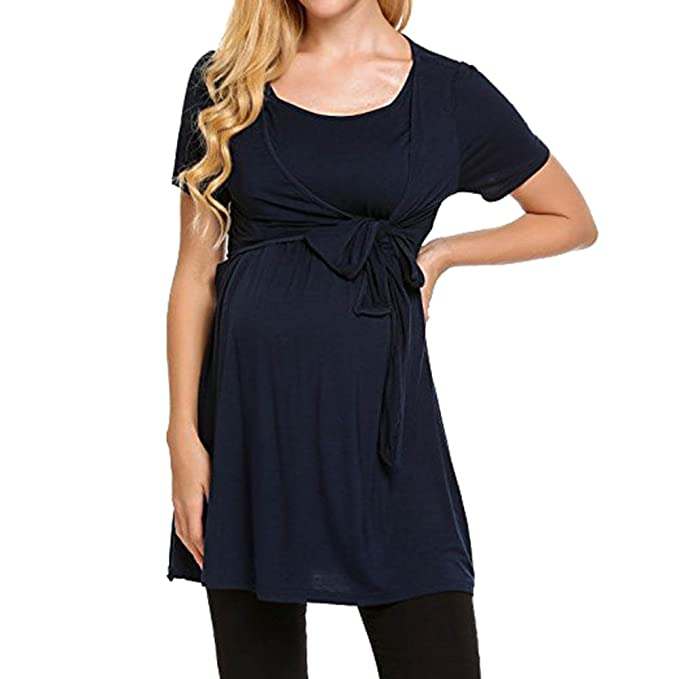 Mutterschaft Unifarben Stillen Umstandstop Stillbluse Stillshirt Umstandsshirts