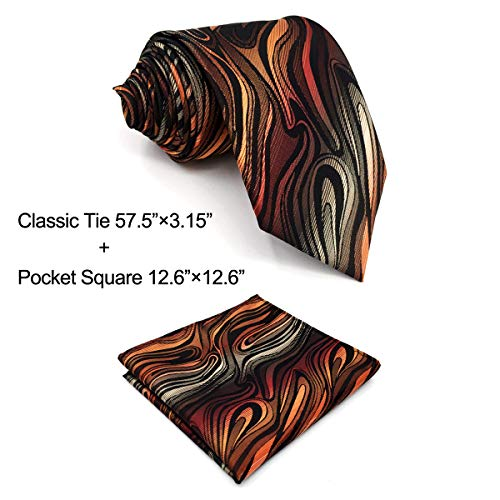 Shlax&Wing Geomeric Red Brown Black Mens Ties Silk Necktie New Design Skinny Long (Classic Necktie 57.5