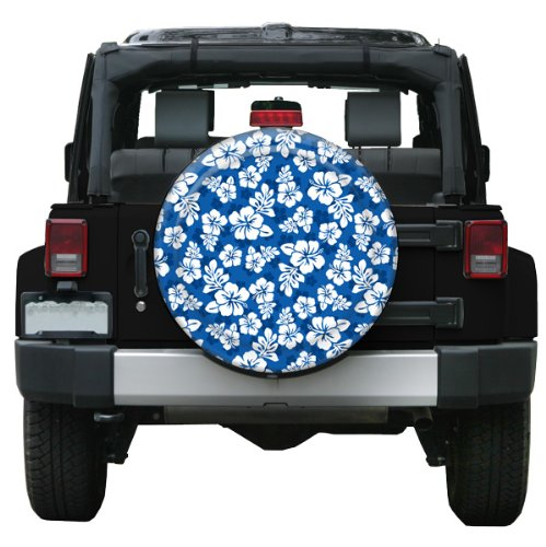35'' Rigid Tire Cover (Plastic Face & Vinyl Band) - Hawaiian Print - Blue by Boomerang (Image #2)