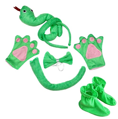 Petitebella 3D Headband Bowtie Tail Gloves Shoes Unisex Children 5pc Costume (3D Green Snake) - Kid Snake Girl Shoe