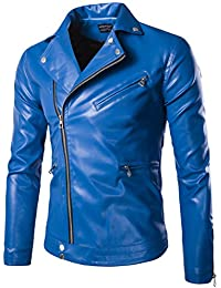 Huafeiwude Men's Classic Leather Motorcycle Jackets Zipper Bomber Jacket