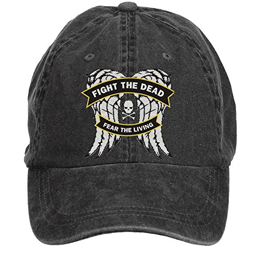 WHUO Unisex Fight the Dead Fear the Living Walking Dead Baseball Cap Hats (The Walking Dead Hats)