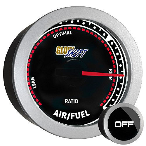 GlowShift Tinted Series Narrowband Air/Fuel Ratio AFR Gauge - Lean, Optimal & Rich Readings - White LED Backlit - Smoked Lens - Smoked Lens - 2-1/16
