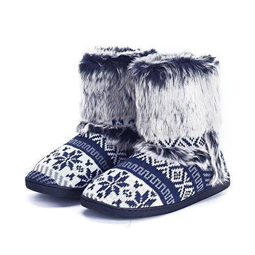 pestor Womens Mid Calf Boot Slippers Winter Warm Indoor Outdoor Slipper Snow Bootie Boots Shoe