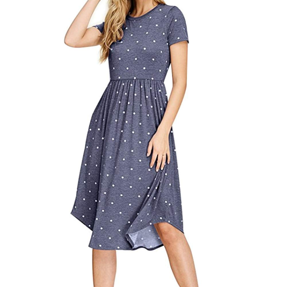 Kasoni Women Casual Dress A Line Midi Dress Polka Dot Loose Swing with Pocket Blue XL