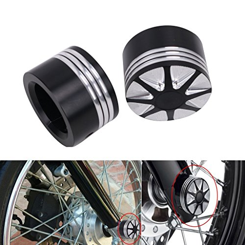 DLLL Motorcycle CNC Deep Cut Front Axle Cover Blot Caps For Harley Davidson Dyna Sportster XL 883 1200 X 48 Softail 08-17 Electra Street Glide Touring Road King FLHT by DLLL (Image #3)