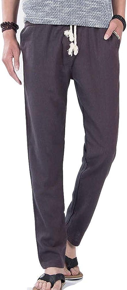 GladiolusA Hombre Pantalones De Lino Elasticos Vintage Casual Baggy Transpirable