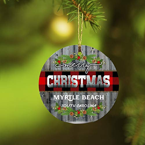 Christmas Ornaments 2019 Merry Christmas Myrtle Beach South Carolina Xmas Presents Ideas State SC Ornament Rustic Funny Gift New Home Housewarming Keepsake Gift Ceramic 3 inches White