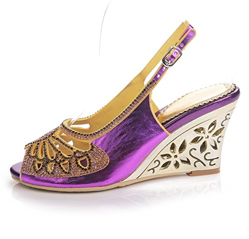Boda Fiesta Correa Vestir tamaño Purple Sandalias Tacón Diamante Mujer Tobillo Cuña Zapatos Señoras Paseo ZPL zqwgx4