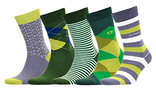 Bluehill Men's 5 Pack Luxury Colorful Casual Healthy Cotton Seamless Toe Socks Gift Box (BHS-SB-2)