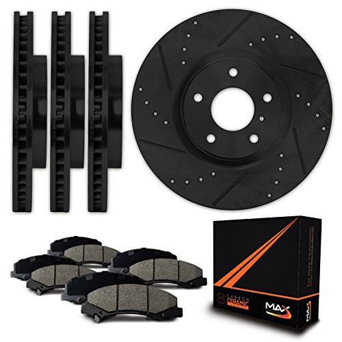 Max Brakes E-Coated Slotted+Drilled Rotors w/Ceramic Pads Front + Rear Elite Brake Kit KT058483 [Fits 2002 - 2005 Ford Thunderbird | 2000 - 2006 Lincoln LS | 2000 - 2002 Jaguar S Type] by Max Advanced Brakes