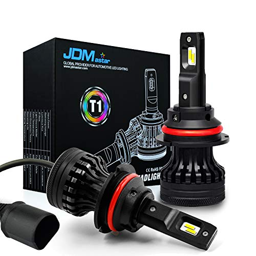 JDM ASTAR Newest Version T1 10000 Lumens Extremely Bright High Power 9007 All-in-One LED Headlight Bulbs Conversion Kit, Xenon White (9007)