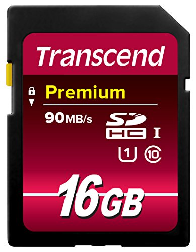 Transcend 16GB SDHC Class 10 UHS-1 Flash Memory Card Up to 60MB/s (TS16GSDU1)