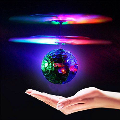 Geekercity Mini RC Drone Helicopter Infrared Induction LED Remote Ball with Built in Disco Music for Kids Teenagers
