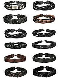 6-12pcs Leather Bracelet for Men Cuff Bracelet Set...