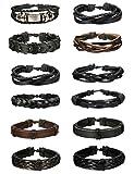 LOYALLOOK 6pcs Leather Bracelet for Men Cuff Bracelet Set Adjustable