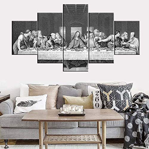 - Black and White Wall Art Santa Cena De Jesus Cuadro Pictures The Last Supper Paintings for Living Room Leonardo Da Vinci Artwork 5 Panel Canvas Home Decorations Framed Ready to Hang(60''Wx32''H)