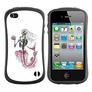 Be-Star Impreso Colorido Diseño Antichoque Caso Del Iface Primera Clase Tpu Carcasa Funda Case Cubierta Par Apple iPhone 4 / iPhone 4S ( white skeleton mermaid captain )