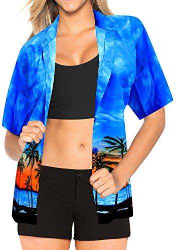 La Leela Likre Vacation Short Sleeves Sales Blouses Female Outfits Boho Festival Resort Tank Palm Tree Cruise Ship B_Blue S
