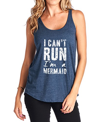 Tough Cookie's Women's Flowy Triblend I Can't Run I'm A Mermaid Tank Top (Made in USA) (Medium, Navy) (Mermaid In Tank)
