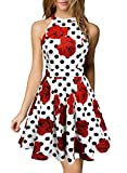 Berydress Women's Short Homecoming Dress Halter Neck Backless Short Party Skater Dress (S, 6019_White Dot)