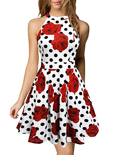 - Berydress Women's Sleeveless Floral Printed Sexy Backless Little Cocktail Party Dress with Pockets (M, 6019_White Dot)