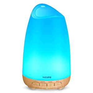 VicTsing 150ml Essential Oil Diffuser, 3rd Version Aromatherapy Diffusers Ultrasonic Cool Mist Humidifier with Sleep Mode, Waterless Auto-Off for Home Office Room Baby-Wood Grain