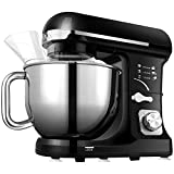 5 qt kitchen mixers - Stand Mixer, Aicok 5-Quart 500-Watt 6-Speed Dough Mixer with Stainless Steel Bowl, Tilt-Head Food Mixer, Kitchen Electric Mixer with Double Dough Hooks, Whisk, Beater, Pouring Shield, Black