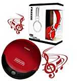 Coby portable compact CD player With bonus I-kool Freeze series Limited Edition bass Wired headphones (RED)