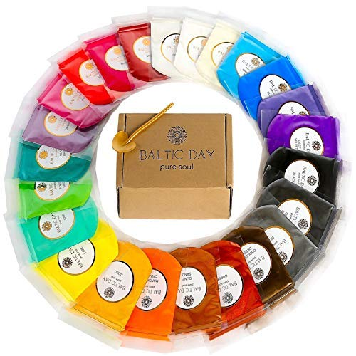Mica Powder - Huge 24 Colors [240g/8.47oz] Set - Perfect as Epoxy Resin Color Pigment - No Residues or Lumps - Pearl Colorant Dye for Soap, Bath Bomb, Slime Making - Non-Toxic [BIG 10g/.36oz Portions]