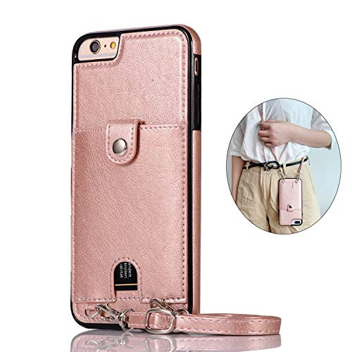 Jaorty PU Leather Wallet Case for iPhone 6/6S Necklace Lanyard Case Cover with Card Holder Adjustable Detachable Anti-Lost Neck Strap for 4.7 inch Apple iPhone 6 iPhone 6S,Pink